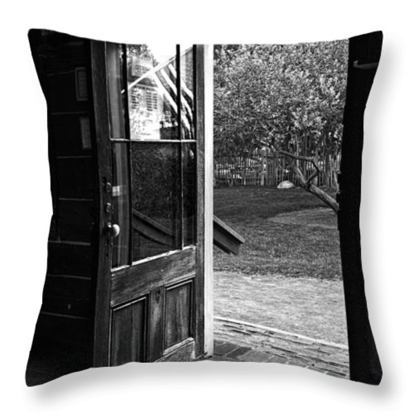 Open Door B-w Throw Pillow by Christopher Holmes