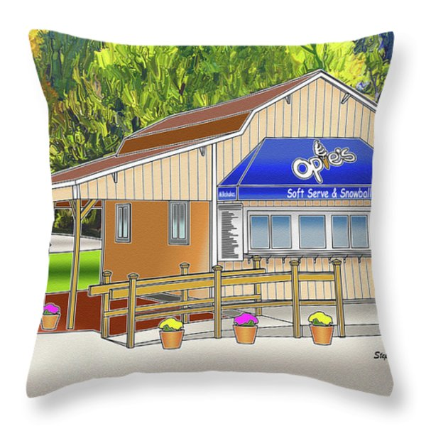 Opie's Snowball Stand Throw Pillow by Stephen Younts