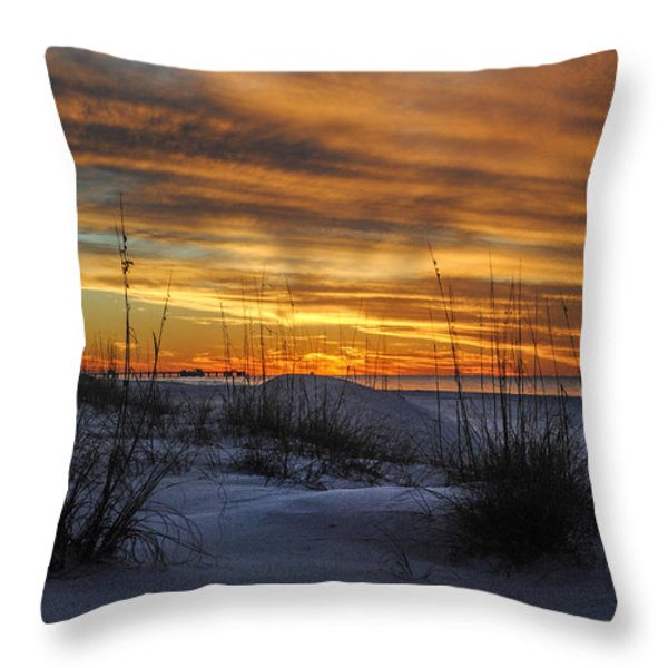 Orange Clouded Sunrise over the Pier Throw Pillow by Michael Thomas