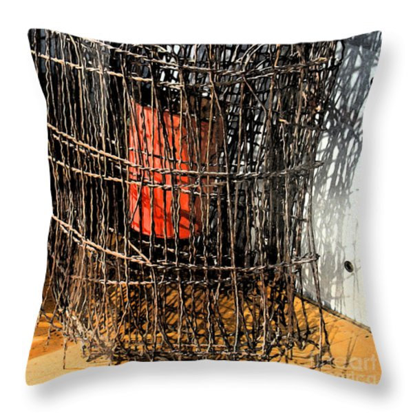 Orange In Wire Throw Pillow by Gary Everson
