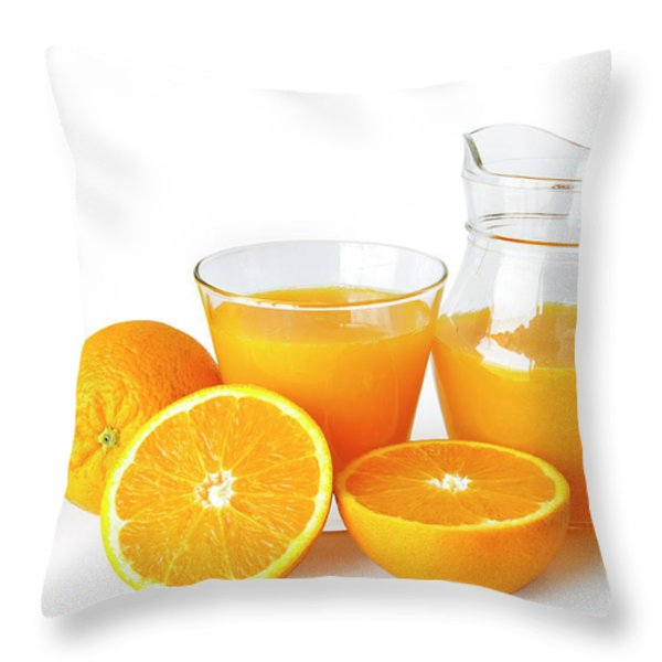 Orange Juice Throw Pillow by Carlos Caetano