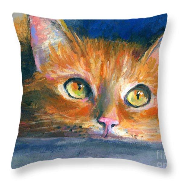 Orange Tubby Cat painting Throw Pillow by Svetlana Novikova