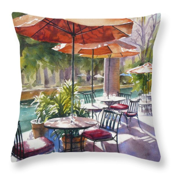 Orange Umbrellas Throw Pillow by Sue Zimmermann