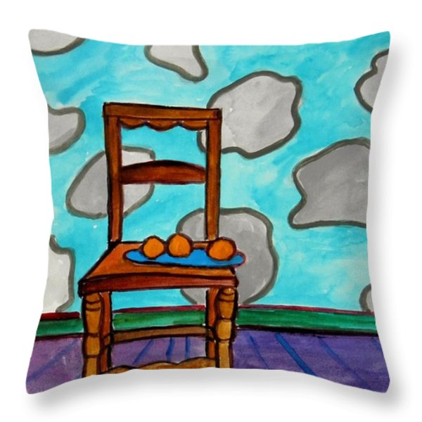 Oranges On A Blue Plate Throw Pillow by John  Williams