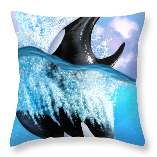 Orca 2 Throw Pillow by Jerry LoFaro