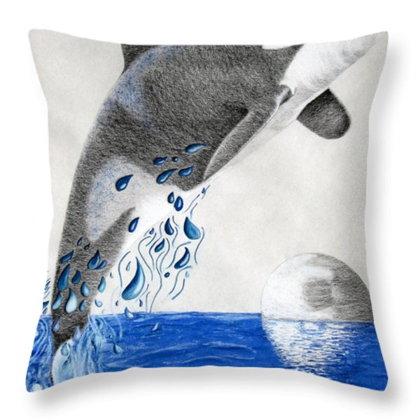 Orca Throw Pillow by Mayhem Mediums