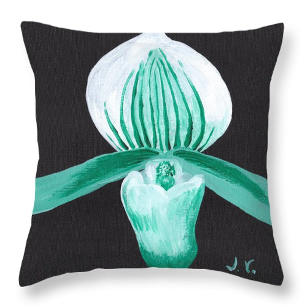 Orchid-paphiopedilum Bob Nagel Throw Pillow by Jose Valeriano