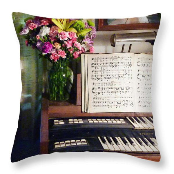 Organ And Bouquet Of Flowers Throw Pillow by Susan Savad