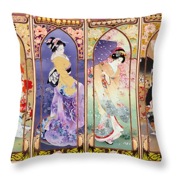 Oriental Gate Multi-pic Throw Pillow by Haruyo Morita