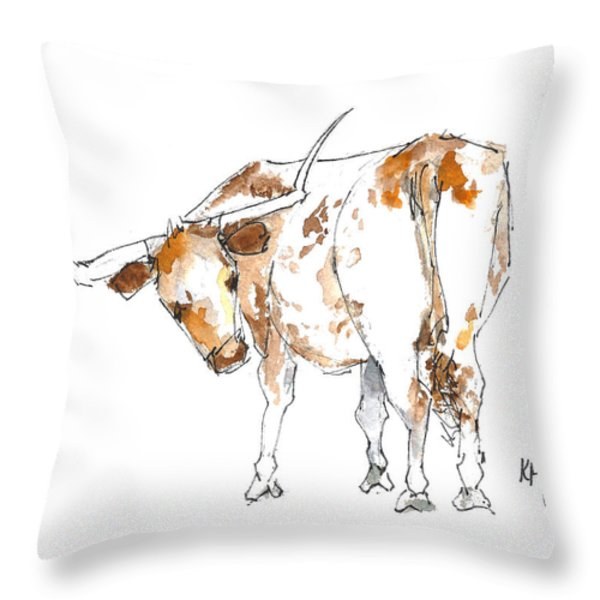 Original Texas Whimsey Throw Pillow by Kathleen McElwaine