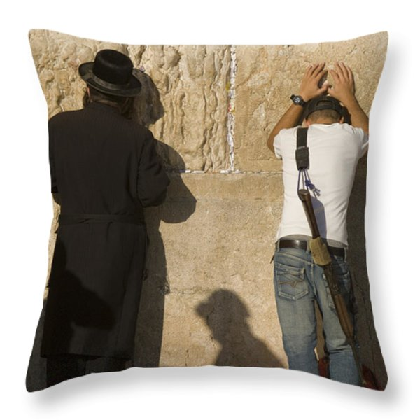 Orthodox Jew And Soldier Pray, Western Throw Pillow by Richard Nowitz