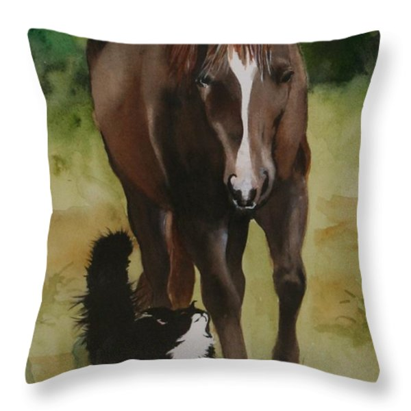 Oscar And Friend Throw Pillow by Jean Blackmer