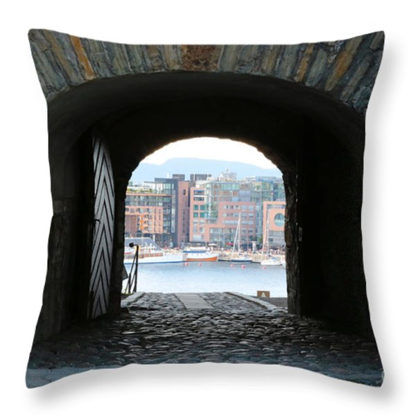 Oslo Castle Archway Throw Pillow by Carol Groenen