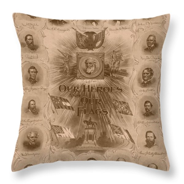 Our Heroes and Our Flags Throw Pillow by War Is Hell Store