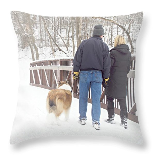 Our Love Will Keep Us Warm Throw Pillow by Larry Ricker