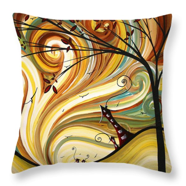 OUT WEST Original MADART Painting Throw Pillow by Megan Duncanson