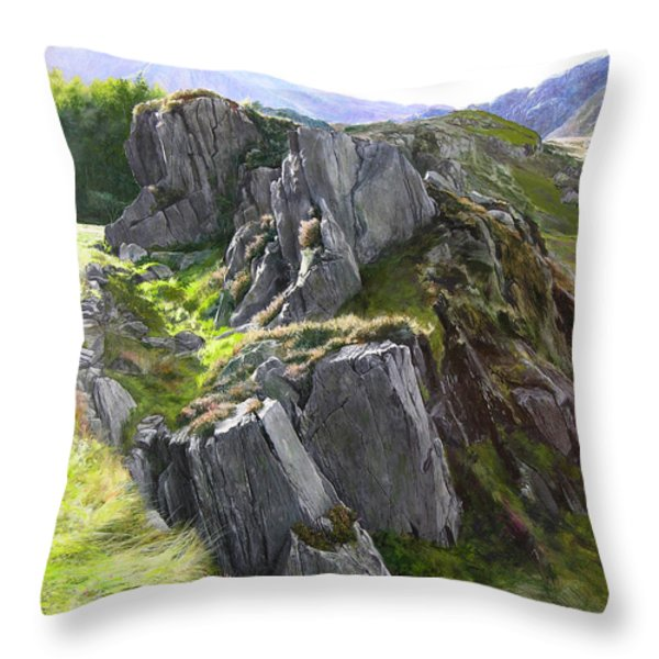 Outcrop In Snowdonia Throw Pillow by Harry Robertson