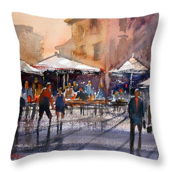 Outdoor Market - Rome Throw Pillow by Ryan Radke