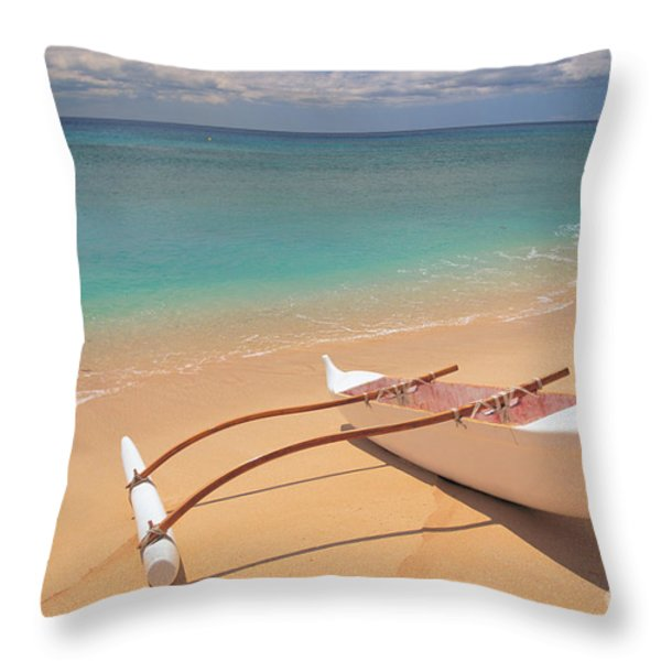 Outrigger on Beach Throw Pillow by Dana Edmunds - Printscapes