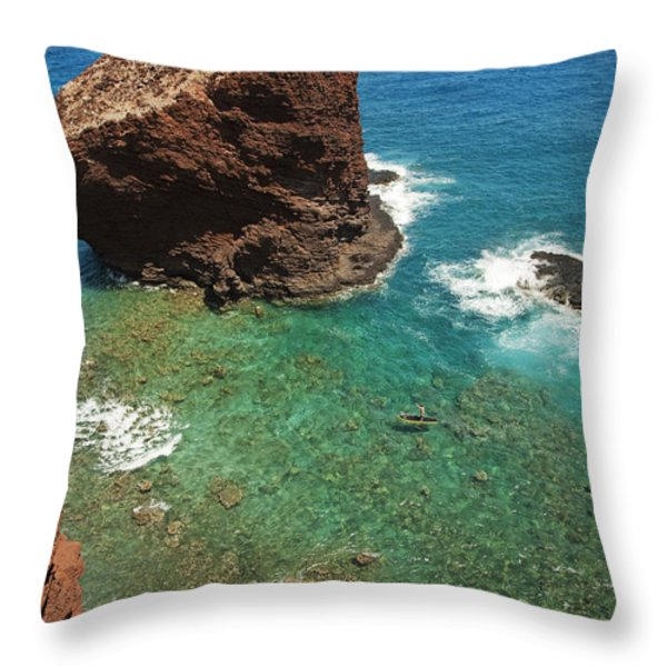 Overlooking Puu Pehe II Throw Pillow by Ron Dahlquist - Printscapes