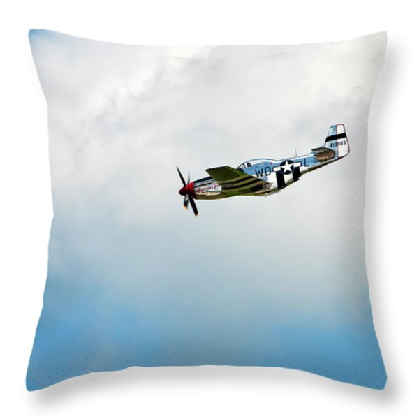 P-51D Mustang Throw Pillow by Murray Bloom