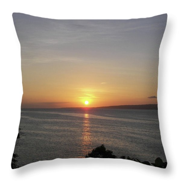 Pacific Island Sunset Throw Pillow by Kate Farrant