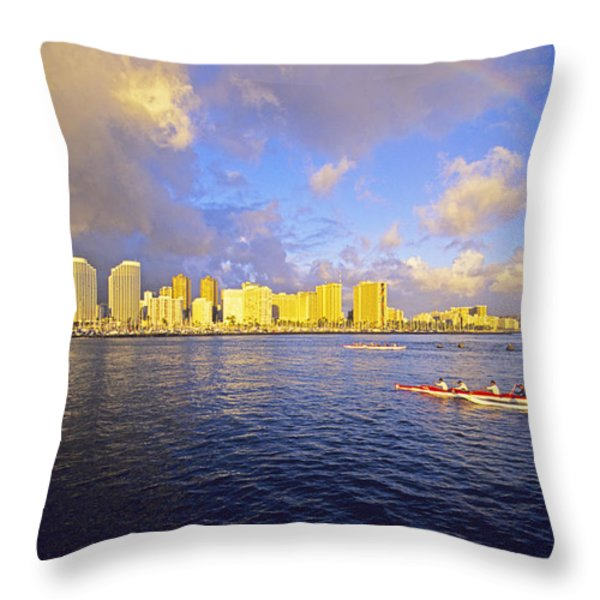 Paddling Beneath Rainbow Throw Pillow by Carl Shaneff - Printscapes
