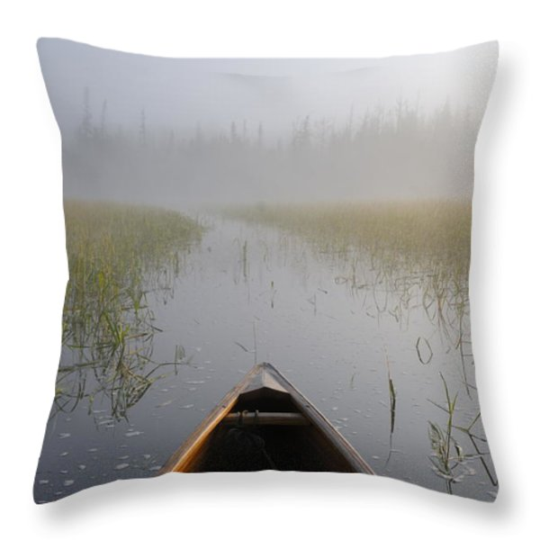 Paddling Into The Fog Throw Pillow by Larry Ricker