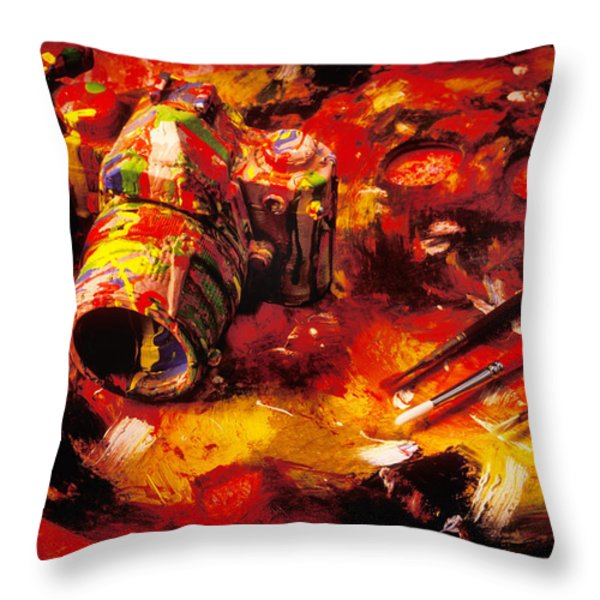 Painted Camera Throw Pillow by Garry Gay