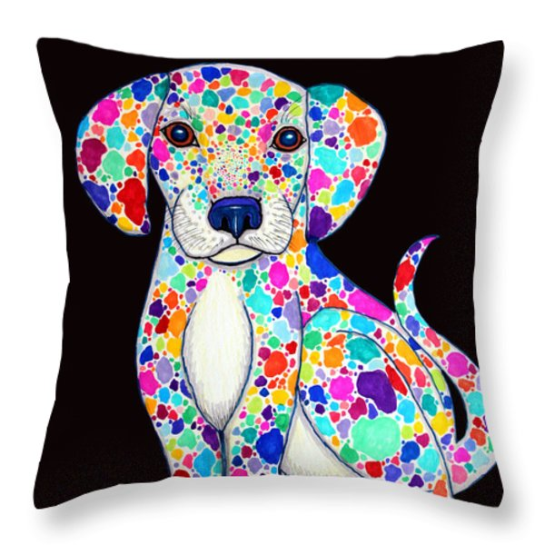 Painted Puppy 2 Throw Pillow by Nick Gustafson