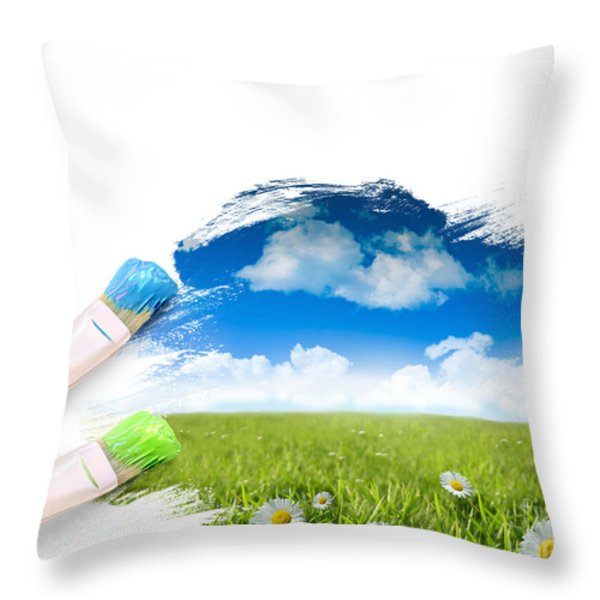 Painting A Landscape With Blue Sky Throw Pillow by Sandra Cunningham