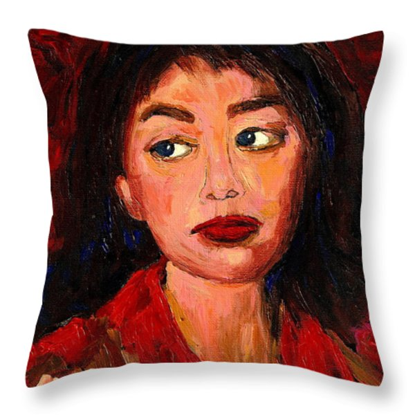 Painting Of A Dark Haired Girl Commissioned Art Throw Pillow by Carole Spandau