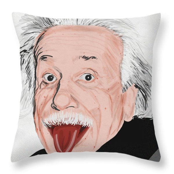 Painting Of Albert Einstein Throw Pillow by Setsiri Silapasuwanchai