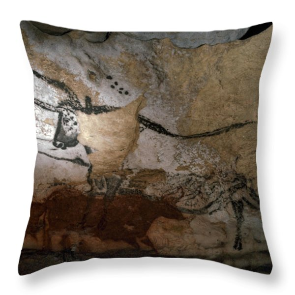 Paleolithic Art Of Bulls On Calcite Throw Pillow by Keenpress
