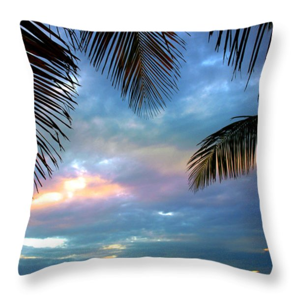 Palm Curtains Throw Pillow by Susanne Van Hulst