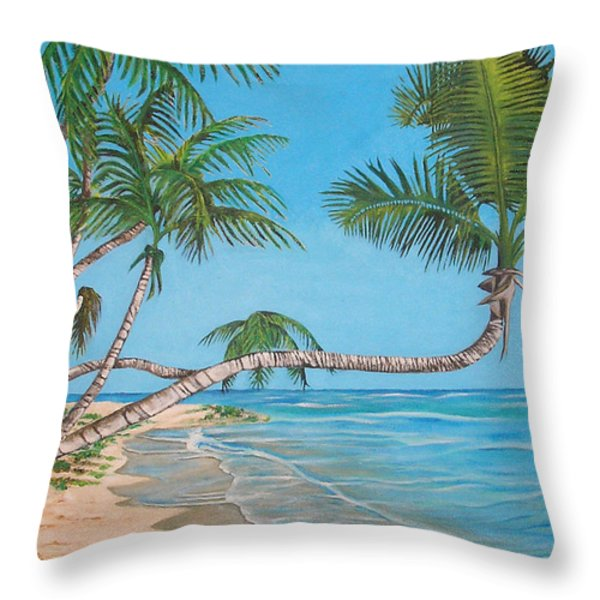 Palm Tree Throw Pillow by Edward Maldonado