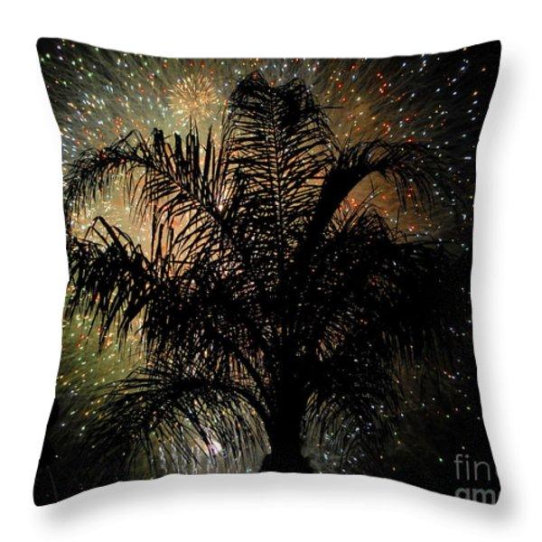 Palm Tree Fireworks Throw Pillow by David Lee Thompson