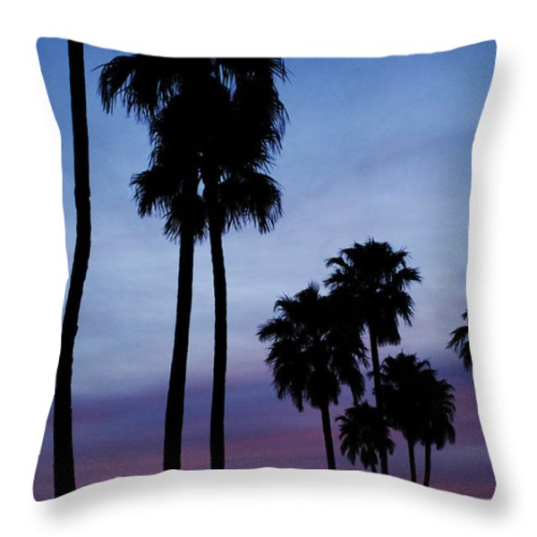 Palm Trees At Sunset Throw Pillow by Jill Reger