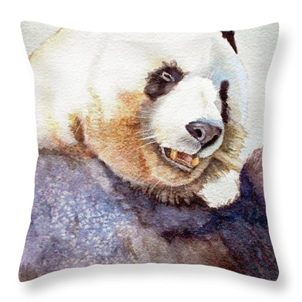 PANDA EATING Throw Pillow by BONNIE RINIER