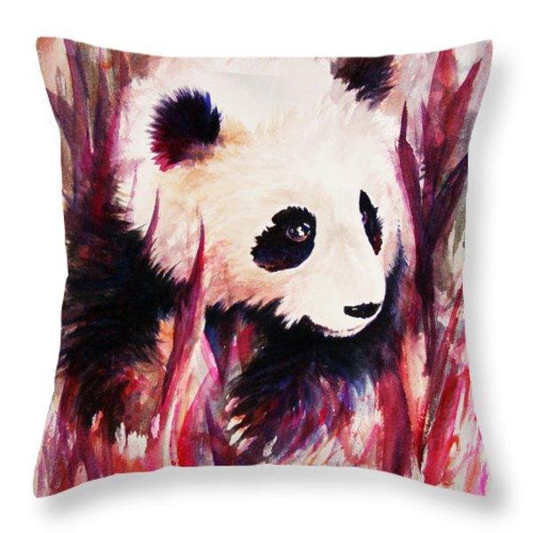 Panda Throw Pillow by Rachel Christine Nowicki