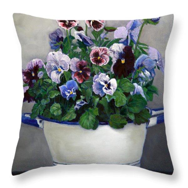 Pansies Throw Pillow by Enzie Shahmiri