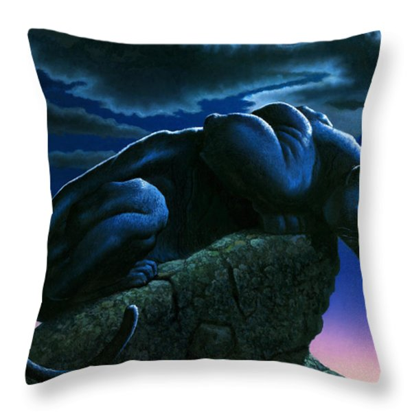 Panther On Rock Throw Pillow by MGL Studio - Chris Hiett