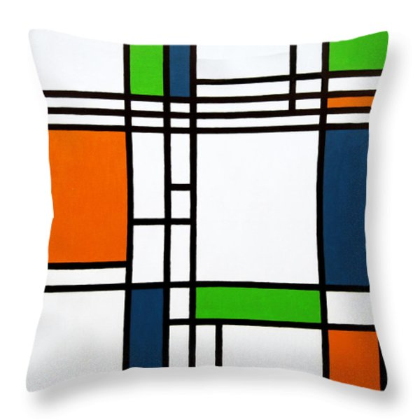 Parallel Lines Composition With Blue Green And Orange In Opposition Throw Pillow by Oliver Johnston