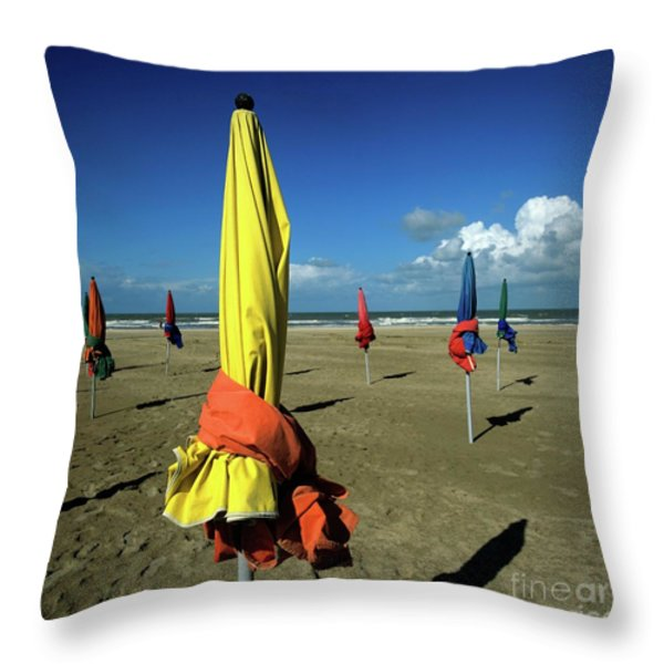 Parasols of Deauville Throw Pillow by BERNARD JAUBERT