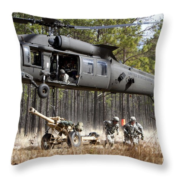 Paratroopers Connect A Howitzer Throw Pillow by Stocktrek Images