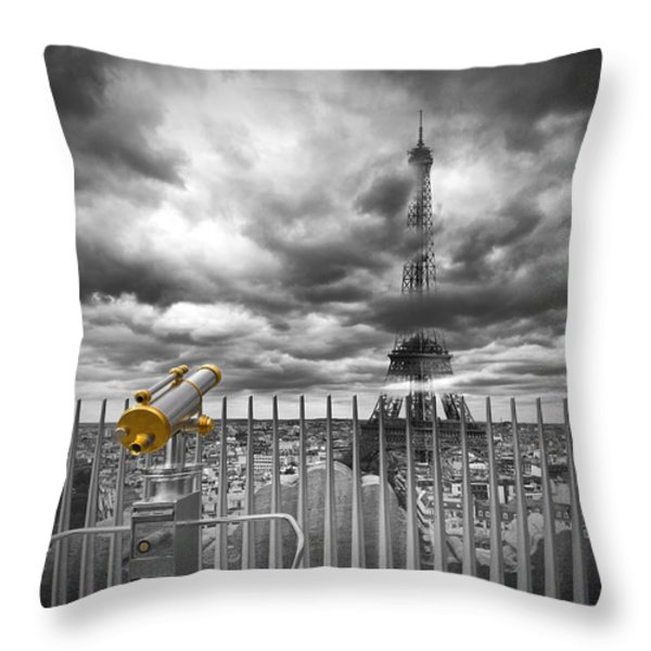 PARIS Composing Throw Pillow by Melanie Viola