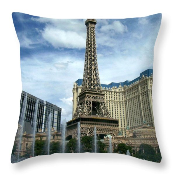Paris Hotel And Bellagio Fountains Throw Pillow by Anita Burgermeister