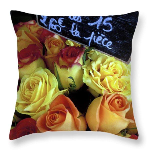 Paris Roses Throw Pillow by Kathy Yates