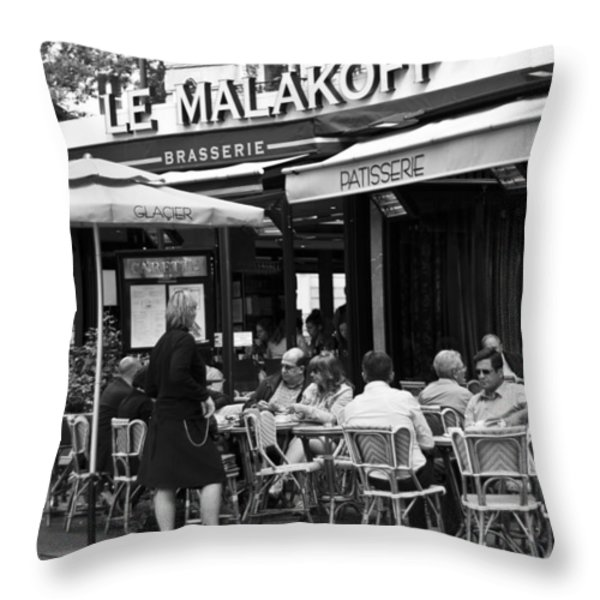 Paris Street Cafe - Le Malakoff Throw Pillow by Georgia Fowler