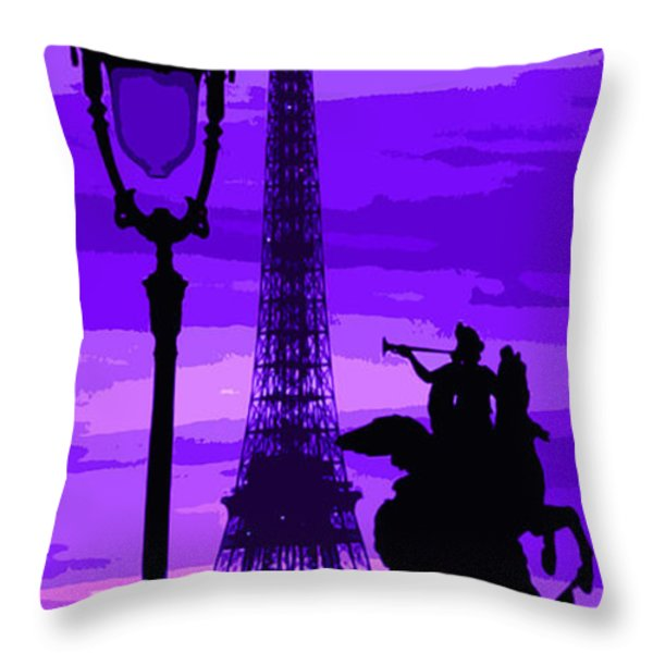 Paris Tour Eiffel Violet Throw Pillow by Yuriy  Shevchuk